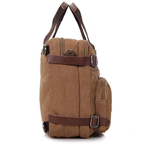 Clean Vintage Hybrid Messenger Bag/Convertible Briefcase Satchel Men Daypack-Waxed Canvas Leather,