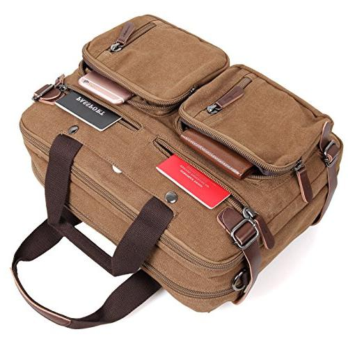 Clean Vintage Bag Hybrid Backpack Messenger Bag/Convertible Briefcase Backpack Men Women- Daypack-Waxed Canvas Leather,