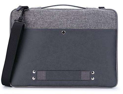 rooCASE 15.6 Inch Leather Handbag 15 New MacBook Dell ASUS Acer, Gray