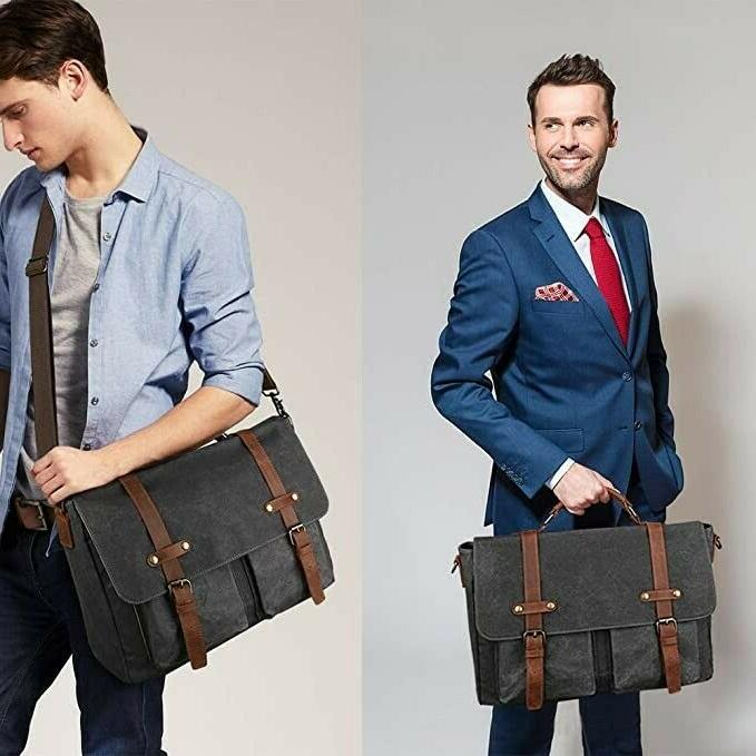 TOCODE LARGE BAG VINTAGE WAXED SATCHEL LEATHER BRIEFCASE