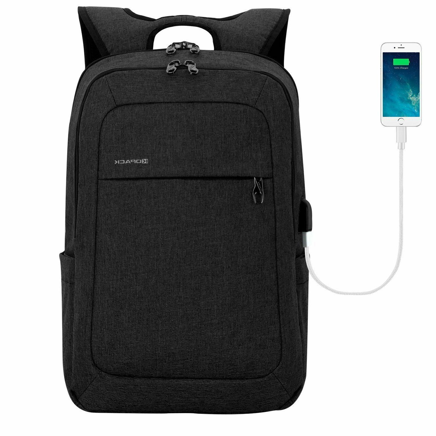 lightweight laptop backpack usb port 15 6