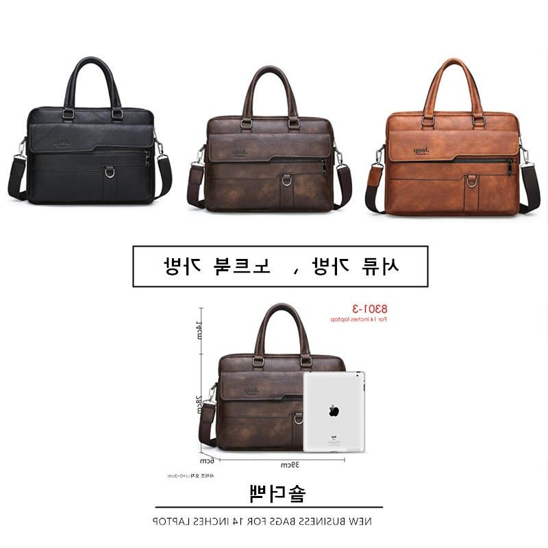 JEEP Briefcase <font><b>Bag</b></font> Famous Leather Shoulder <font><b>Messenger</b></font> Office 14 inch <font><b>Laptop</b></font>