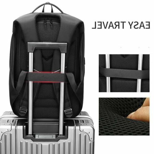 Men Extra Inch Laptop Backpack USB College School Bag