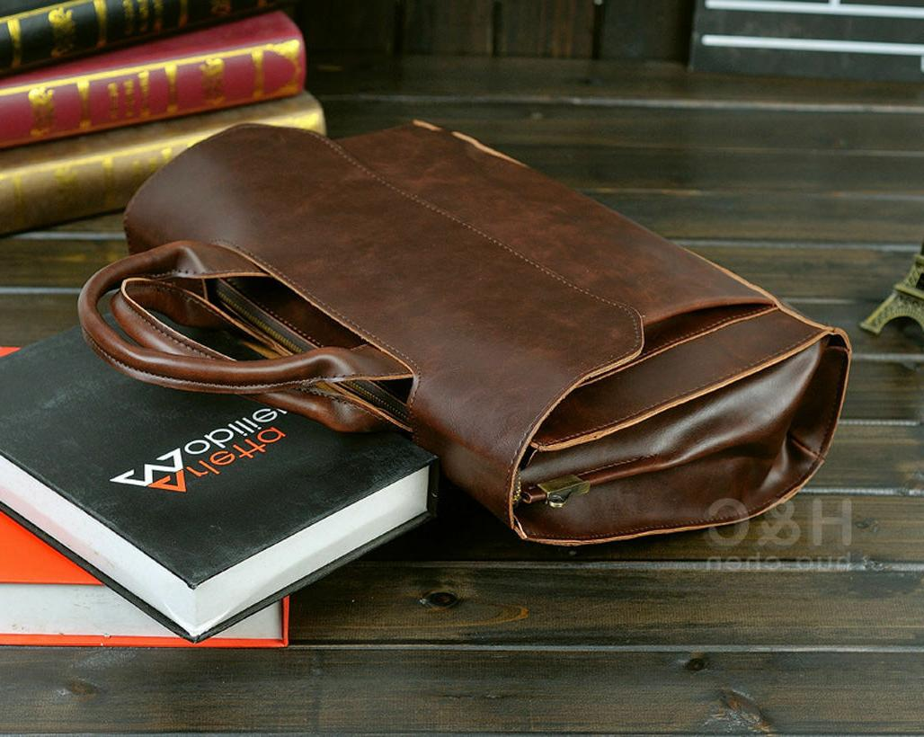 Men PU Laptop Shoulder Messenger Bag