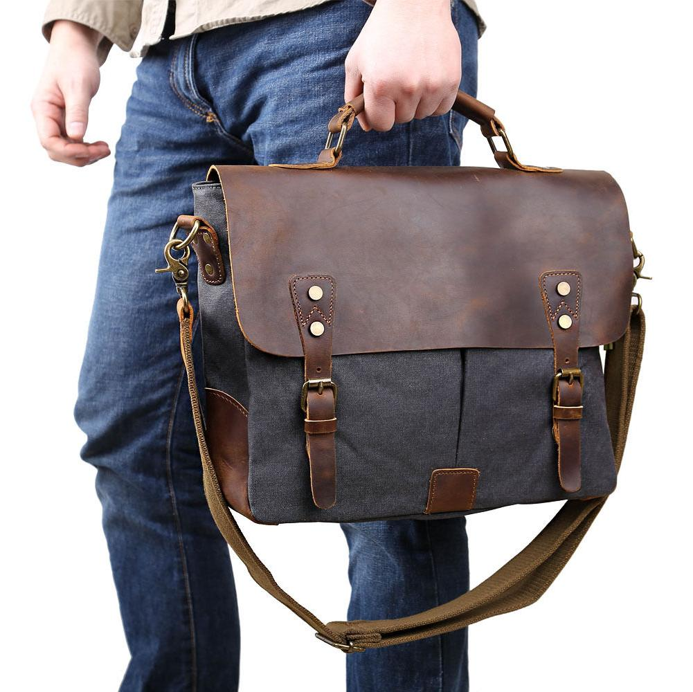 "Men's Canvas Shoulder 14"" Laptop Bags"