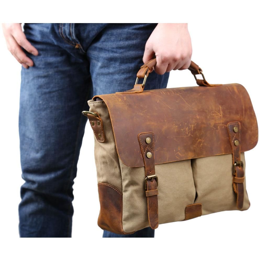 Men's Canvas Shoulder Satchel Laptop Bags