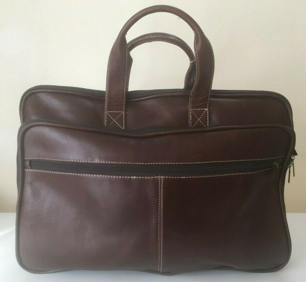 "Men's Leather 17"" Laptop Luggage Messenger Shoulder"