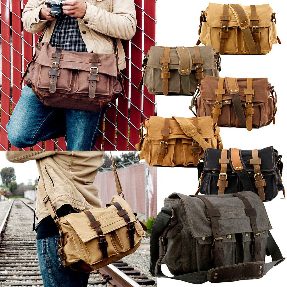 men s military canvas leather satchel school
