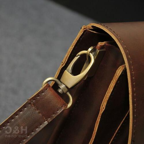 Men's Leather Laptop Bag Messenger Shoulder Bag Case