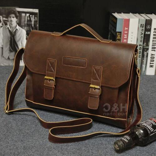 Men's PU Leather Laptop Bag Messenger Shoulder Bag Business
