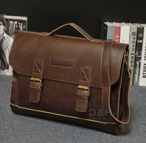men s pu leather briefcase laptop bag