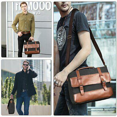 Mens 15.6 Inch Canvas Leather