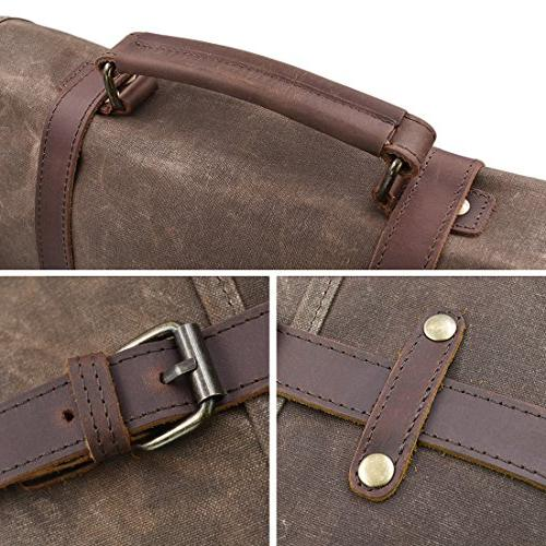 Mens Bag Inch Waterproof Vintage Genuine Leather Canvas Large Satchel Shoulder Rugged Leather Bag, Brown