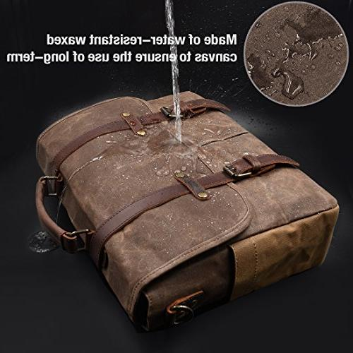 Mens Bag 15.6 Inch Genuine Leather Canvas Large Satchel Bag Rugged Leather Computer Bag,