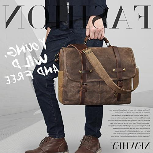 Inch Leather Waxed Canvas Large Satchel Rugged Leather Laptop Bag,