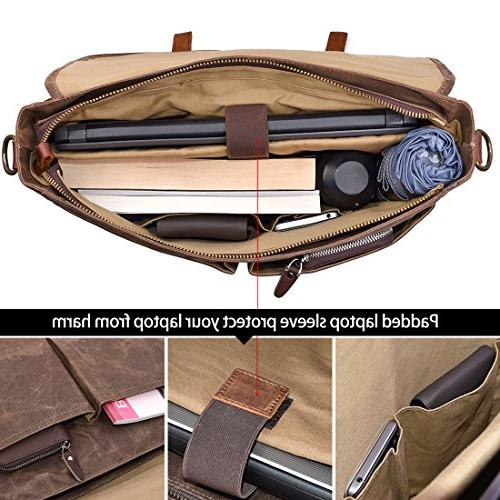 Mens Bag Inch Waterproof Vintage Genuine Large Shoulder Bag Rugged Computer Laptop Bag, Brown