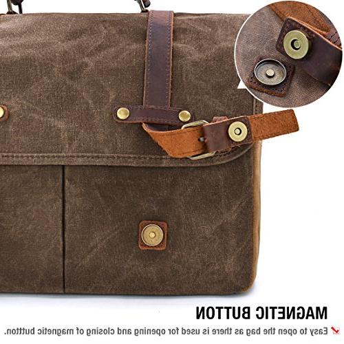 Mens Bag 15.6 Inch Vintage Leather Briefcase Large Satchel Shoulder Rugged Leather Computer Bag, Brown