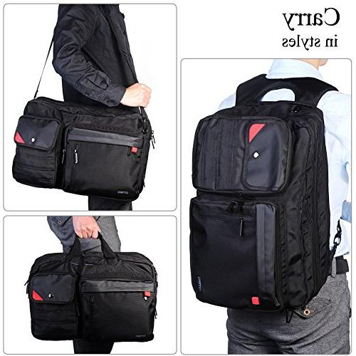 DTBG Spacious Business Travel Laptop Menssenger Briefcase Shoulder Hiking Daypack - 17.3 Laptop / Notebook/MacBook/Tablet,Black