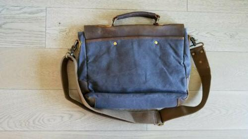 Laptop Briefcasel Gray Canvas, Brown Leather nwot