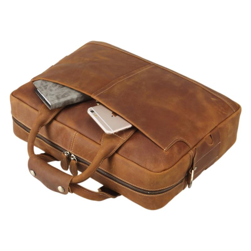 Texbo Full Leather 16 Inch Laptop Messenger