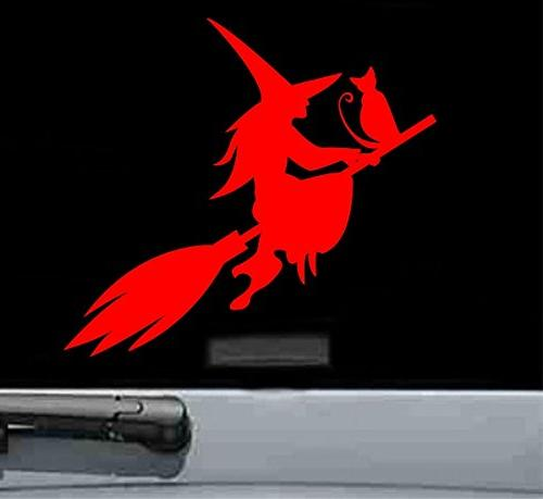 witch cat flying vinyl decal