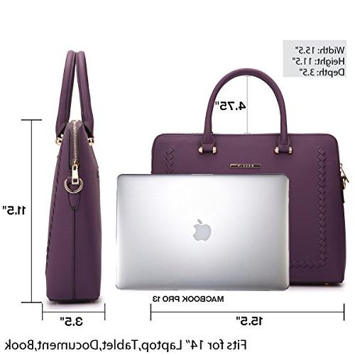 Women Leather Briefcase Laptop w/Removable Strap