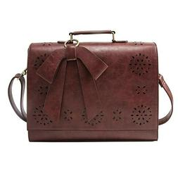 Ladies PU Leather Laptop Bag Briefcase Crossbody Messenger B
