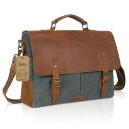 Langforth Genuine Leather Vintage Laptop Canvas Messenger Sa