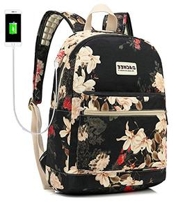 Laptop Backpack with USB Charging Port Waterproof School Boo