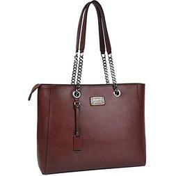 Laptop Bag for Women,15.6 in Spacious Laptop Tote Soft PU Le