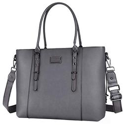 MOSISO Laptop Tote Bag , Water Resistant PU Leather Large Ca