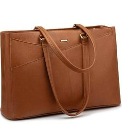 Laptop Tote Bag for Women 15.6 Inch Waterproof Leather Compu