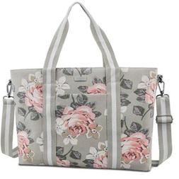 MOSISO Laptop Tote Bag for Women , Inch, Gray Base Rose