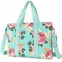 MOSISO Laptop Tote Bag for Women , Canvas Rose Multifunction