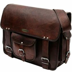 Leather Briefcase Business Luggage Travel Slim Case Laptop L
