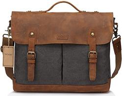 VASCHY Leather Canvas Messenger Bag for Men,15.6 inch Laptop