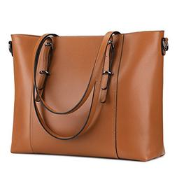 S-ZONE Leather Laptop Bag for Women Fits up to 15.6 inch Bus