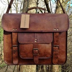 Large Mens Genuine Vintage Brown Leather Messenger Bag Shoul