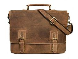 Leather 16 Inch Retro Leather Briefcase Laptop Messenger Bag