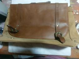 Leather Suede Laptop or Messenger Bag 15x13x6