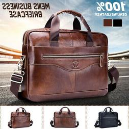 Men Black Genuine Leather Briefcase Laptop Handbag Business