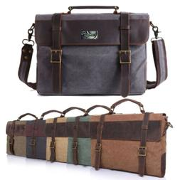 Men Canvas&Leather Laptop Briefcase Travel Shoulder Handbag
