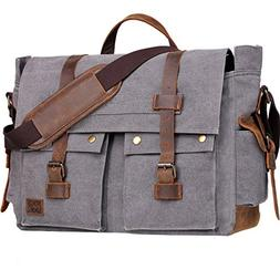 Wowbox 17.3 Inch Men's Messenger Bag Vintage Canvas Leather