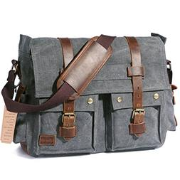 "Lifewit 15.6""-17.3"" Men's Messenger Bag Vintage Canvas Leath"