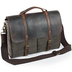 Lifewit Men's Messenger Bag Waterproof Leather Waxed Canvas