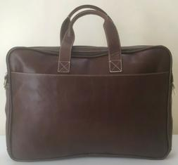 "Men's Leather Luxury 17"" Laptop Satchel Briefcase Luggage Me"