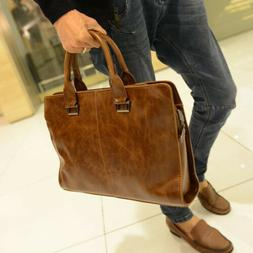 Men's Leather Shoulder Messenger Bags Business Work Bag Lapt