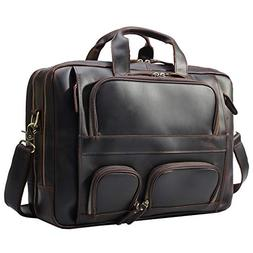 Texbo Men's Solid Top Cowhide Leather Large 17.3 Inch Laptop
