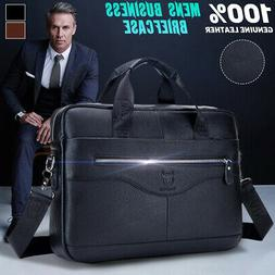 Mens Black Genuine Leather Briefcase Laptop Handbag Business