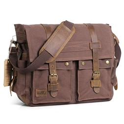 Lifewit 17.3 inch Mens Messenger Bag Vintage Canvas Leather